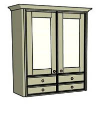 Double door & drawers - glass - Click here to view this product