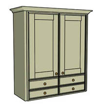 Double door & drawers - wood - Click here to view this product